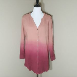 Loveriche Ombre Button Front Tunic Top Size S